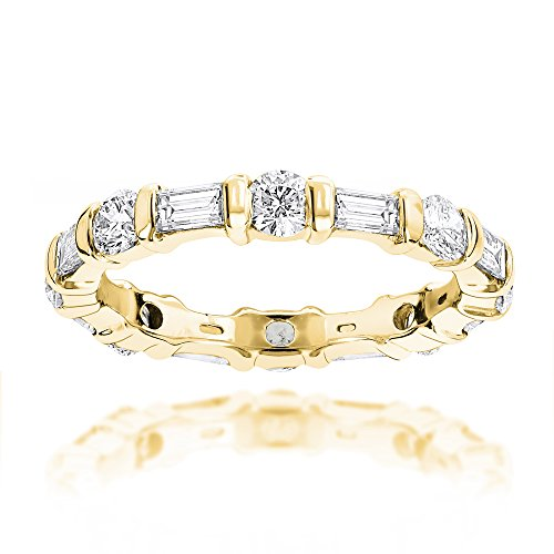 Luxurman Ladies 14K Baguette and Round Natural Diamond Eternity Band (Yellow Gold Size 5)
