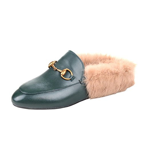 Agodor Womens Flats Suede Leather Slingback Mules with Faux Fur Slip on Outdoor Dress Slippers Warm Classic Shoes Green
