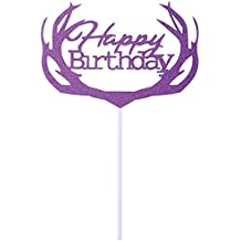 DriewWedding 50PCs Hollow Design Cake Topper Inserted Inserting Card, Glitter Paper Birthday Cake Top Card Decor DIY Party Favor (Purple)
