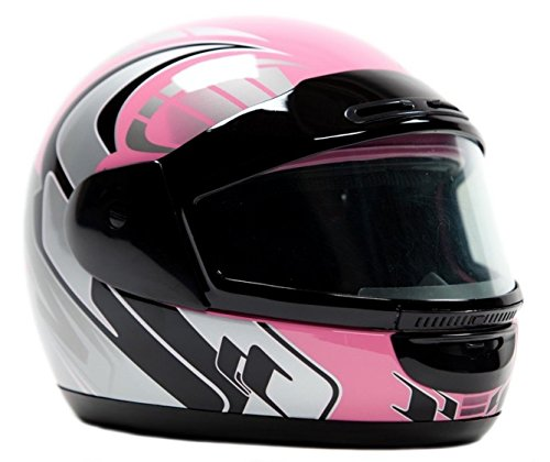 Typhoon Helmets Adult Snowmobile Helmet Mens Womens Full Face Dual Lens Anti Fog - Pink (S Small) -