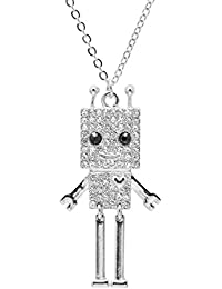 Silver Plated Smiling Square Robot with Antenna Strand Necklace