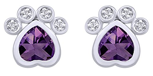 Pet Love Heart Cut Simulated CZ Paw Print Stud Earrings In 14K White Gold Over Sterling (14k Print)