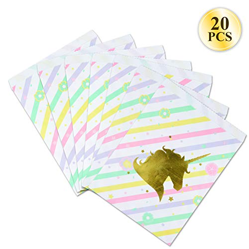 Unicorn Party Supplies Bags - 20 Pack Unicorn Theme Party Bags for Birthday Party Goodies, Classroom Party Treat, Paper Treat Bags, 9.5 x 4.5 x 2.5 inches by WEEPA