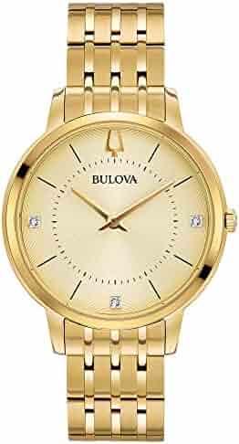 Bulova Women's Diamonds Quartz Watch with Gold-Tone-Stainless-Steel Strap, 16 (Model: 97P123)