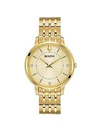 Bulova Women 's de diamantes y acero inoxidable de cuarzo reloj Casual, color: tono dorado (modelo: 97p123)