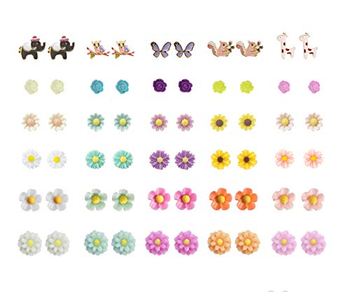 36 Pairs Mix Pearls Ball Daisy Rose Flower Assorted Earrings Studs Set, Hypoallergenic (30 Animals+Flowers)