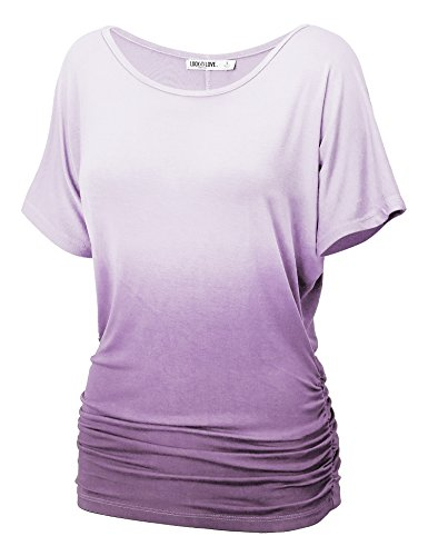 (WT990 Womens Round Neck Short Sleeve Dip-Dye Dolman Top S Lilac)