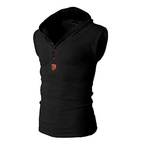 Casual Débardeur Haut Top Bold Manche Noir Gilet Mode Capuche Sport Simple Manner Garçon Printemps Eté Uni Confort Loose Homme Sans wwYZ8