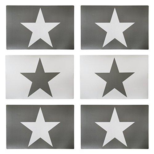 6er Set Tischset grau Stern weiß 4 x grau 2 x weiß mit 4 Bleistiften