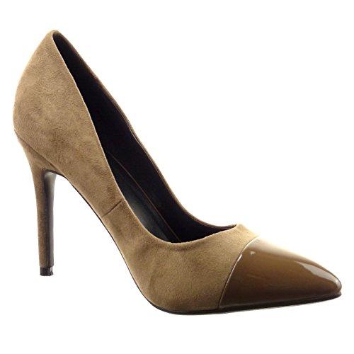 Sopily - Scarpe da Moda scarpe decollete stiletto alla caviglia donna lucide verniciato Tacco Stiletto tacco alto 10.5 CM - Khaki