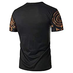 Orchidamor 2019 Mens Summer Casual Fashion Printing Elastic Short Sleeve T Shirt Tops Blouse Black