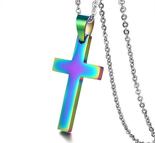 HUANIAN Jewelry Christian Cross Pendant Necklace with Chain Men's Women's Stainless Steel Simple Style