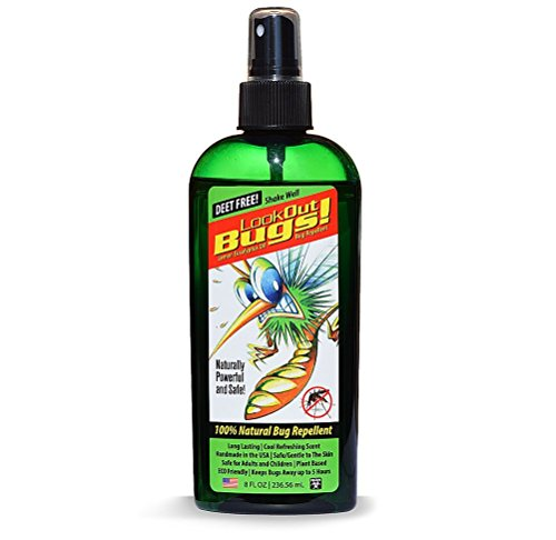 Look Out Bugs Natural Bug Repellent, (8 FL OZ) Spray, Premium Natural Bug Repellent is DEET-Free, Oil of Lemon Eucalyptus, Long Lasting Outdoors for Adults & Children, Non-Greasy, Handmade in USA. ()