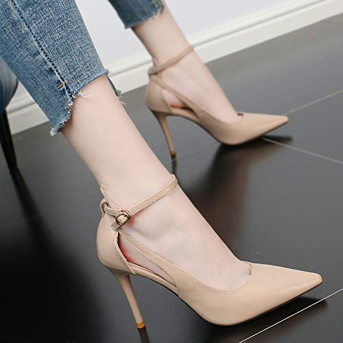Simple Brown Hollow High Pointed Summer Heel Shoes Fashion Shoes Thin 9Cm And Sexy KPHY Buckle UFBPqwAq