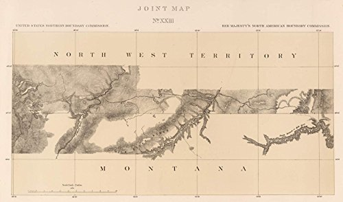 Exploration Book | 1878 Joint Map No. XXIII. United States Northern Boundary Commission. (Canadian Border). | Historic Antique Vintage Reprint