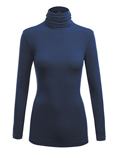 WSK1030 Womens Long Sleeve Ribbed Turtleneck Pullover Sweater M Navy