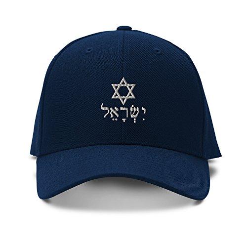 (Speedy Pros Hebrew Israel Star David Silver Adjustable Structured Baseball Hat Navy)