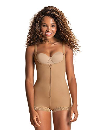 Leonisa Women's Slimming Braless Firm Tummy Compression Body Shaper in Boyshort with Rear Lift