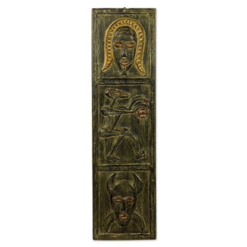 (NOVICA Large Decorative Wood Wall Mural, Brown, Senufo Face')