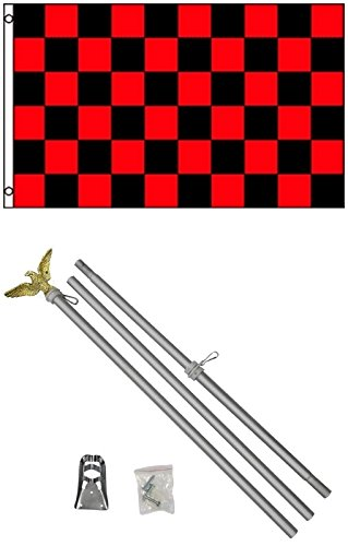 3x5 Black & Red Checkered Flag Business Flag w/ 6' Aluminum