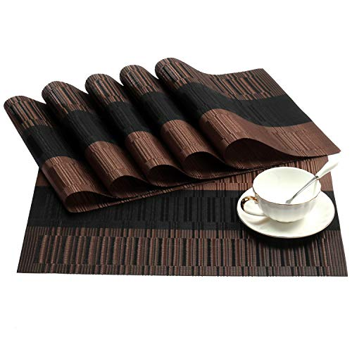 SHACOS PVC Placemats Set of 6 Woven Vinyl Place Mats for Dining Table Heat Resistant Table Mats Wipeable (6, Ombre Coffee and Black)