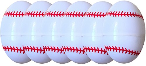 Children's FIllable Easter Egg Hunt Treat Containers Sport Eggs Basketball Or Baseball (Baseball Pack of 6 ) (Egg Baseball)