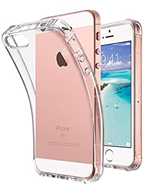 iPhone SE Case Clear, iPhone 5s case, iPhone 5 case, ULAK Clear Slim Fit 5/5S/SE Case With Transparent Flexible Soft TPU Bumper Shock-Absorption Cover -Retail Packaging - HD Clear (White Flower)