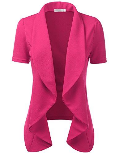 CLOVERY Women's Short Sleeve Cotton No-Buckle Blazer Jacket Suits Fuchsia XL Plus Size (Cotton Pink Suit)