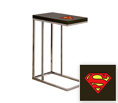 Black Laminate (Formica) and Chrome Finish Slide-Under TV Tray/End Table with Your Choice of Novelty Theme (Superman (Slide Shelf Laminate)