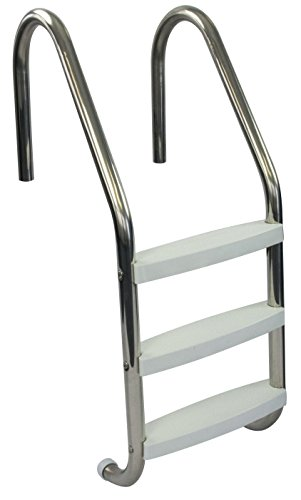 Aqua Select Three Tread Stainless Steel Pool Ladder | Entry and Exit System for In-Ground Swimming Pools | 250 Pound Capacity | 1.90-Inch Outer Diameter | Plastic Steps