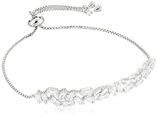 Decadence Women's Sterling Silver Rhodium Zigzag Baguette Adjustable 7.50