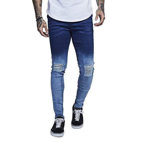 Casual Strappati Skinny Uomo Semplice Wear Da Design Slim Used Pantaloni Fit Dunkelblau1 Stile Denim Gardenient Color Jeans Con In Elasticizzati z56O5xqwB