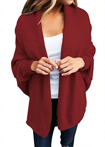 Shawhuwa Womens Oversized Knit Draped Open Front Dolman Cardigan Sweater L Burgundy