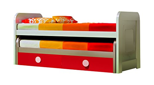 Double Kid Trundle Bed w/ Frame and Bottom Drawers. 2 Beds Double Trundle Bed w/ 2 Mattress. Girls/ Boy Trundle Bed. Cream Beige-red, Made in Spain(European Brand)