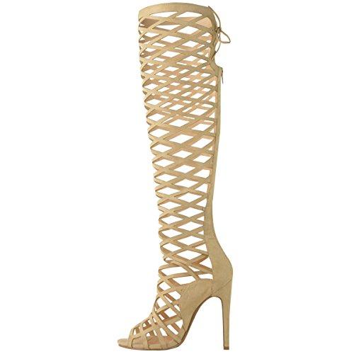 Pizzo Pelle Donna Ginocchio Camoscio Da Tacco Con Misura Ragazza Bretelline Stile Al Intagli Stivali Sandali Alto Gladiatore nI11wxB