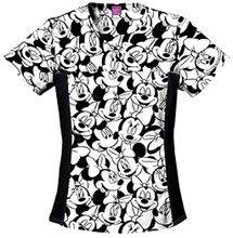 Disney Cherokee Women's V-Neck Knit Panel Top Big Minnie, Black, XX-Large