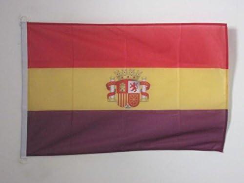 AZ FLAG Bandera ESPAÑA Republicana con Escudo 90x60cm Uso Exterior - Bandera DE LA Republica ESPAÑOLA 60 x 90 cm Anillos: Amazon.es: Hogar