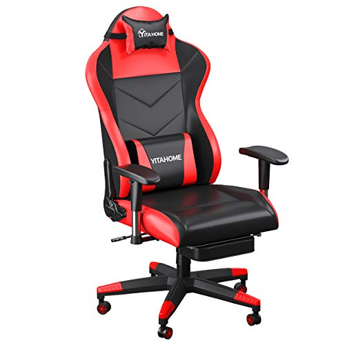 YITAHOME Massage Gaming Chair, Heavy Duty Big and Tall Computer Racing Desk Chair with footrest, and Large Size PU Leather Swivel Video Game Chair with High Back (Deluxe Red)