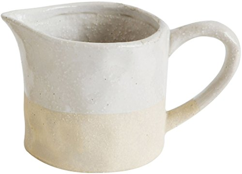 - White Glazed and Matte Stoneware Pitcher - 3 inch