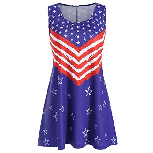 America Flag Printed Tank Tops for Women Plus Size Fashion O-Neck SLeeveless Loose Blouse XL-5XL from Dacawin-Women Tops
