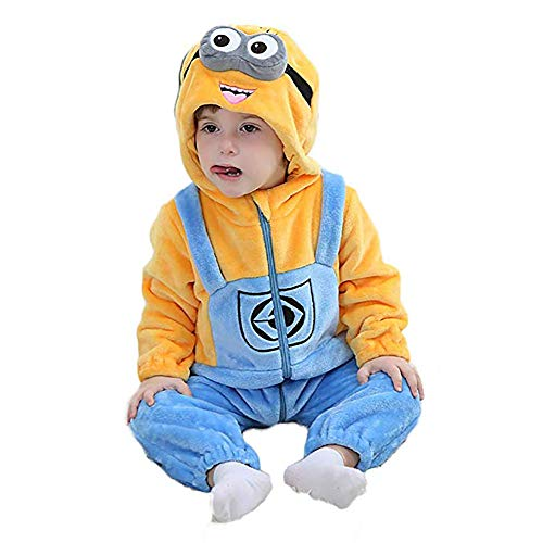 Unisex-Baby Flannel Romper Animal Onesie Pajamas Outfits Suit(Minions,80(5-11M)) for $<!--$19.66-->