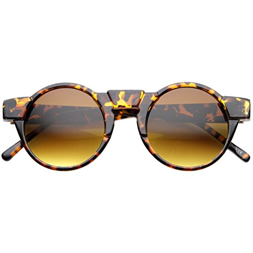 Shiny Glass Amber Tortoise (Retro Fashion Key Hole Bridge Horn Rimmed Round Sunglasses (Shiny-Tortoise Amber))