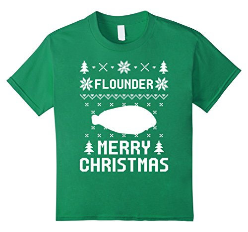 Kids Flounder Christmas T-shirt, Ugly Christmas Sweater T-shirt 4 Kelly Green - Com Costumes Flounder
