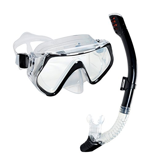 Mask and Snorkel Set, OBOSOE Anti-Fog Scuba Diving Mask for Adults, Kids - Black