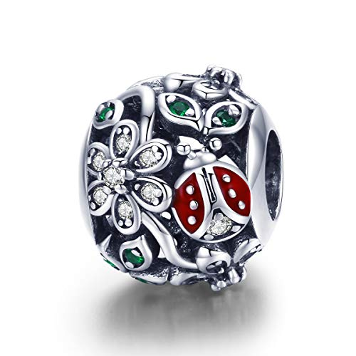 BAMOER 925 Sterling Silver Fashion Red Ladybug Sunflowers Wonderland CZ Bead Charms for Women Bracelets Necklace Insect Lover Gifts