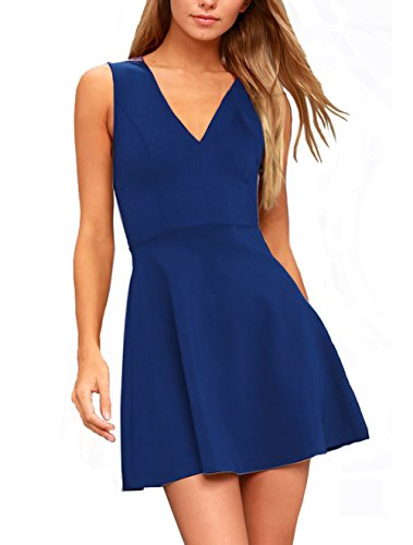 Zalalus Women's Summer Casual Skater Dresses Sleeveless Wedding Guest Formal A Line Mini Cocktail Party Dress Deep V Neck Above Knee Length Blue Large