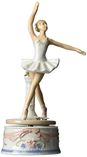 Cosmos 10623 Fine Porcelain Ballerina in White Dress Musical Figurine, 9-Inch