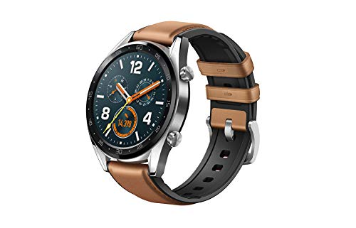 Huawei Watch GT 2018 Bluetooth SmartWatch,Ultra-Thin Longer Lasting Battery Life,Compatible with iPhone and Android (Steel (Leather Strap))