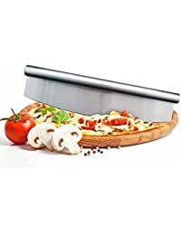Get 13 Inch Large Stainless Steel Pizza Cutter Blade Rocker Style Professional save