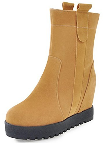 Booties Yellow on Short Pull Round Wedge Women's Mofri Boots Invisible Platform Heel Ankle High Casual Faux Suede Toe UzwqTH1